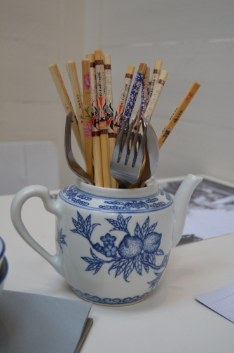 Teapots double as chopstick holders