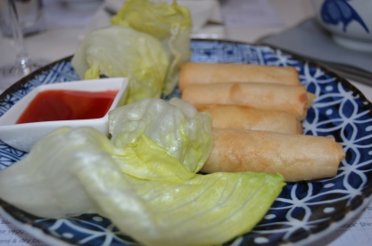 crispy vegetable spring rolls with lettuce cups and sweet chilli sauce