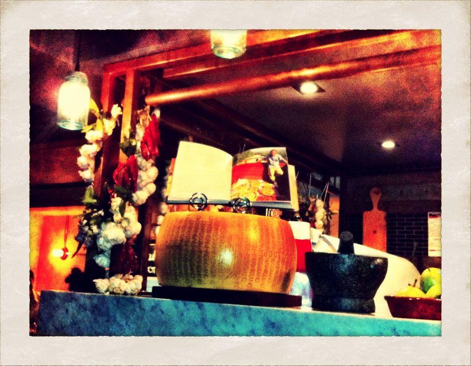 Rustic Italian props decorate the restaurant