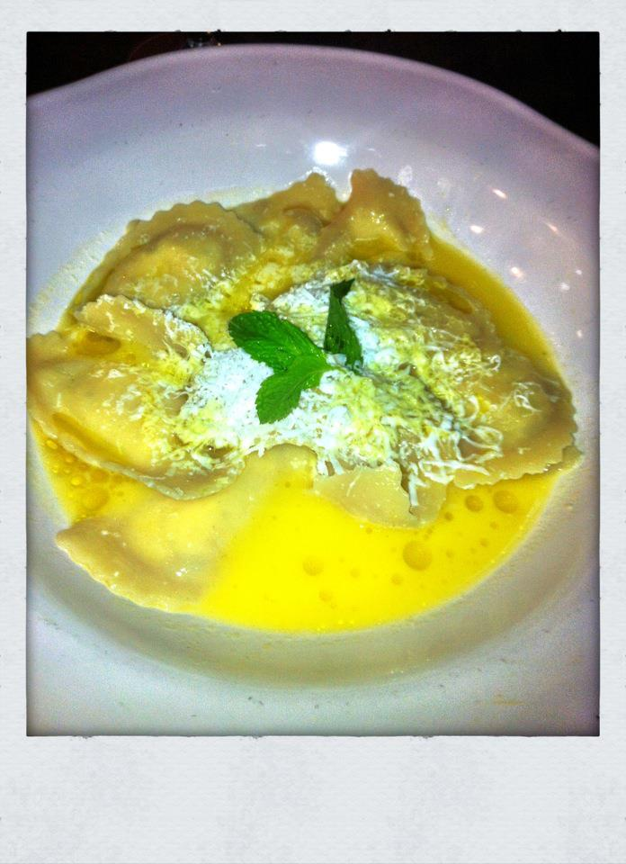 Ravioli parcels stuffed with creamy ricotta, lemon, mint and parmesan