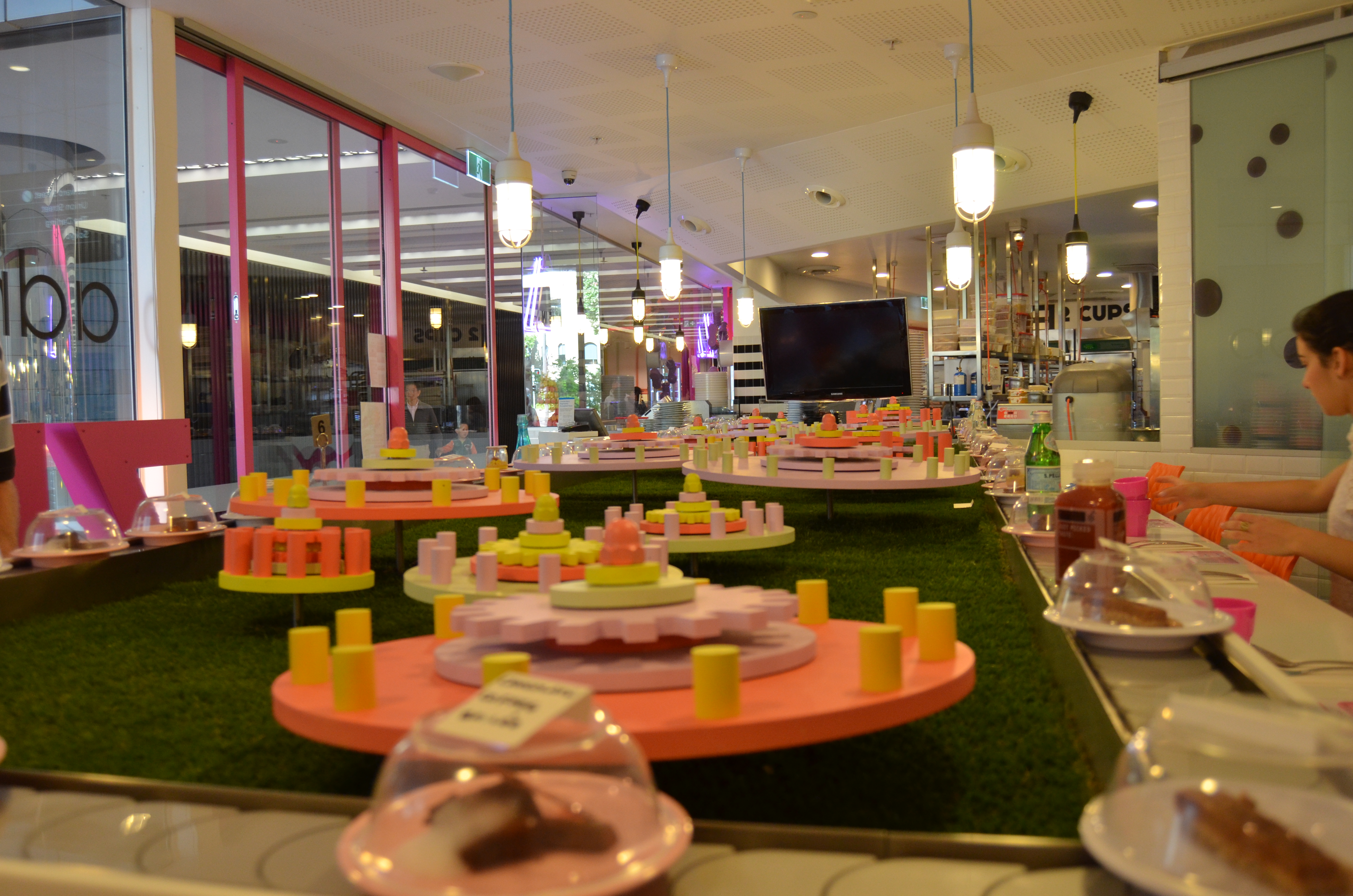 The colourful dessert train at Zumbo at The Star