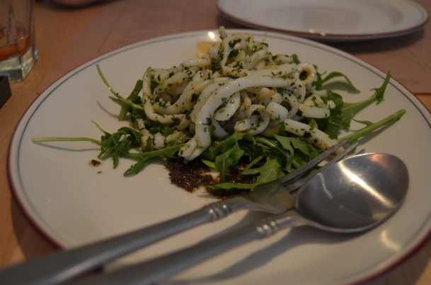 Calamari with pesto & rocket