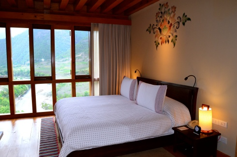 The room at Uma Punakha had floor to ceiling windows with the most amazing view