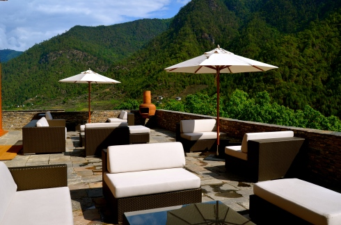 the stunning outdoor terrace at Uma Punakha