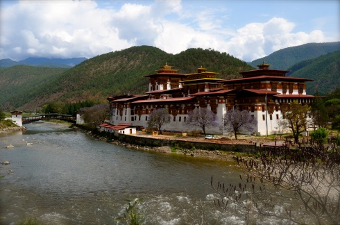 the majestic Punakha Dzong on the banks of the river