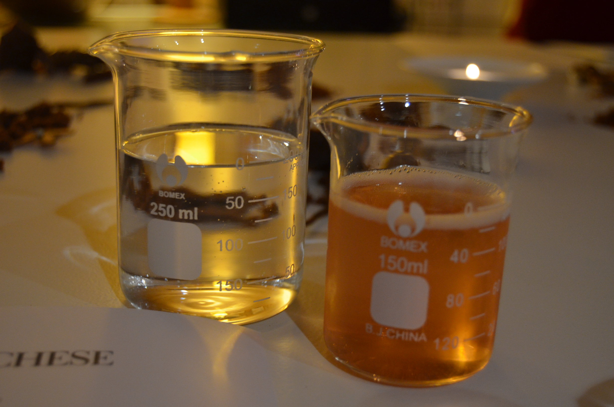 Accompanying dessert wines served in beakers
