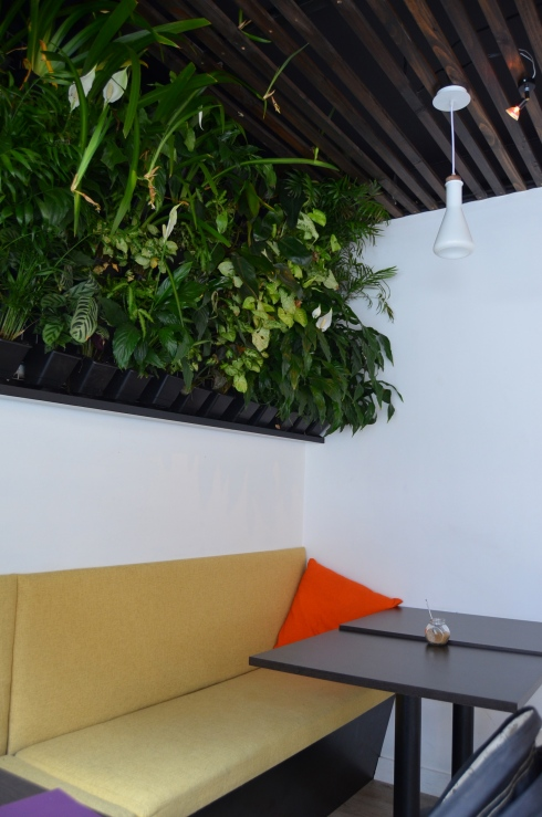 Greenery wall with bench seating underneath