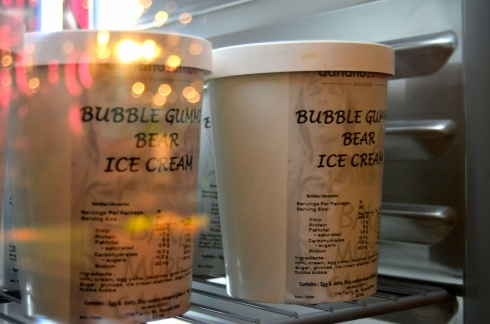 Bubblegum gummi bear ice cream