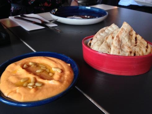 Sweet potato skordalia dip with pita