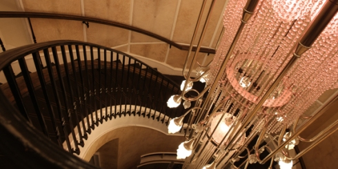 The magnificent chandelier  and spiral staircase at Beauty and Essex
