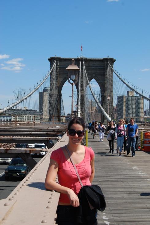 Walking over the Brooklyn Bridge