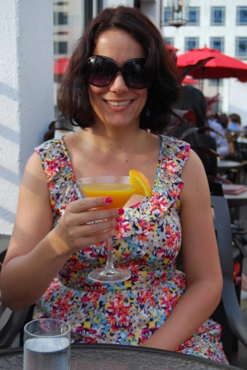 Enjoying a cocktail at the rooftop bar Salon De Ning at The Peninsula New York