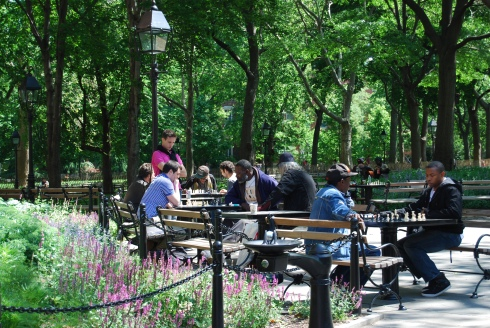 Enjoying a game of chess in one of New York's many parks