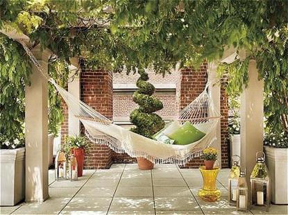 One of the hammocks in one of the public spaces at The Hudson Hotel
