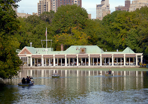 The Central Park Boathouse Restaurant in Central Park surrounded by the lake and rowboats