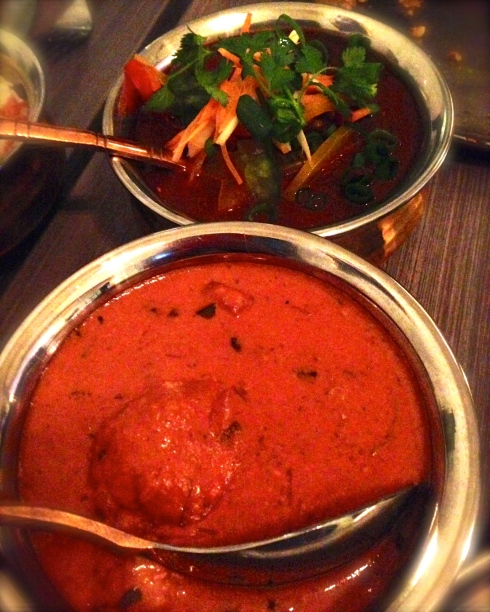 Butter Chicken and Goat curries