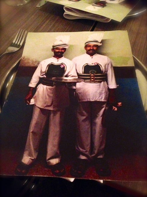 Colourful Indian characters adorn the menus at Babu Ji