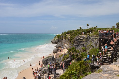 The stunning beach below the Tulum Ruins