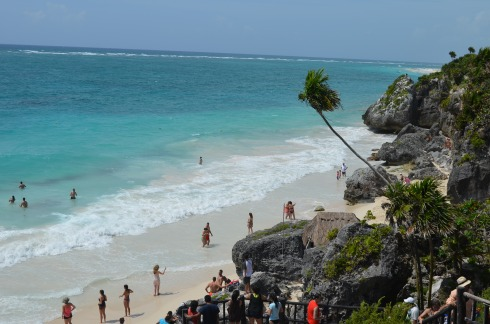 Pristine beach below Tulum Ruins