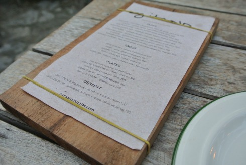Menu at Gitano
