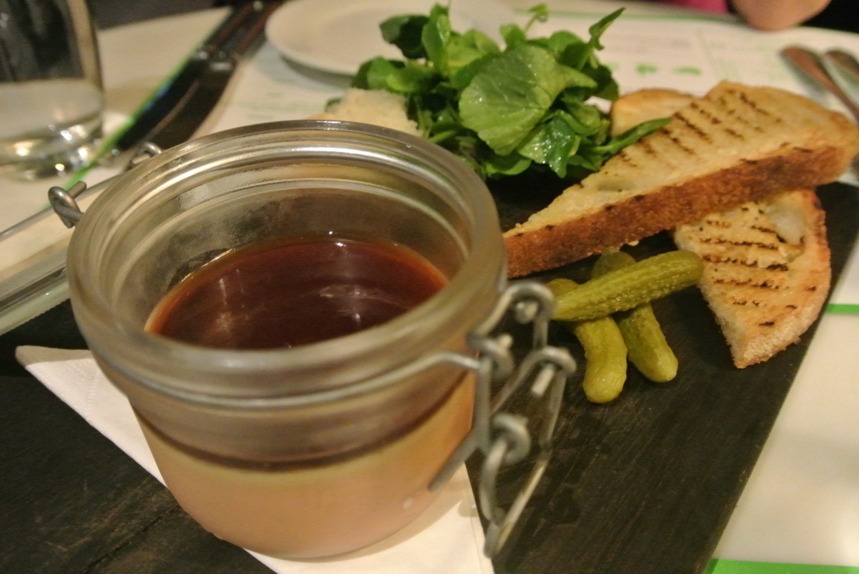 Duck liver parfait with cornichons and crusty bread