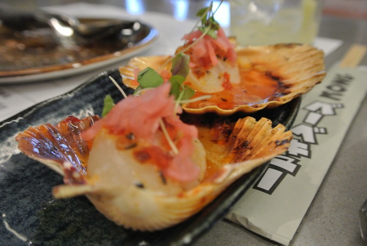 Wood grilled scallops with tobanjan and mirin pickled relish