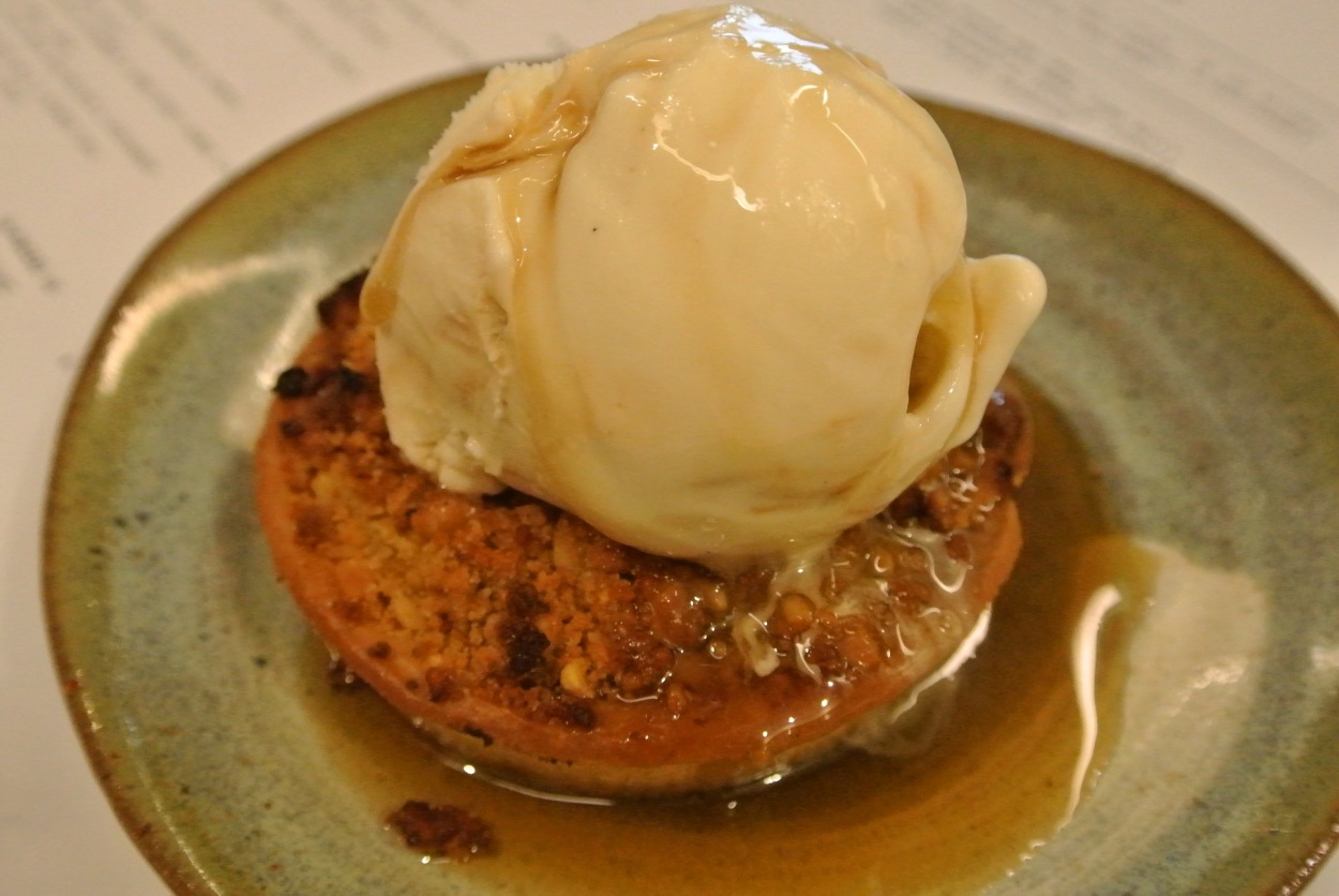 Apple and walnut tart with miso butterscotch and Japanese whisky ice-cream