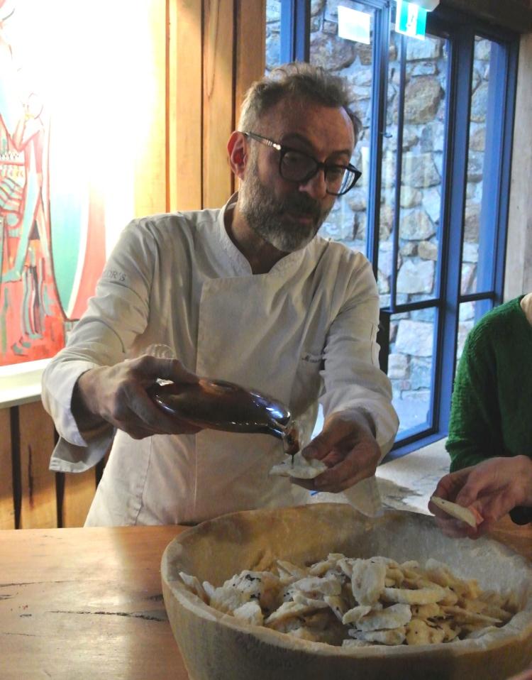 Massimo Bottura with his Parmigiano Reggiano