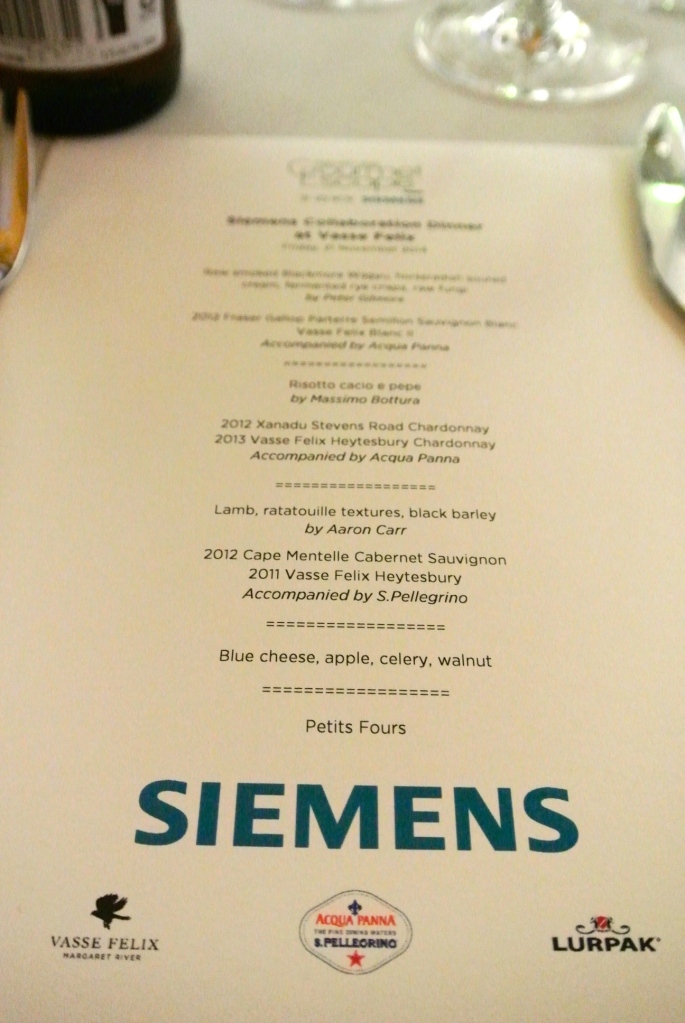 The menu for the Siemens Collaboration Dinner at Vasse Felix
