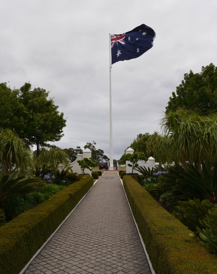 The Australian flag flies proudly at Voyager Estate
