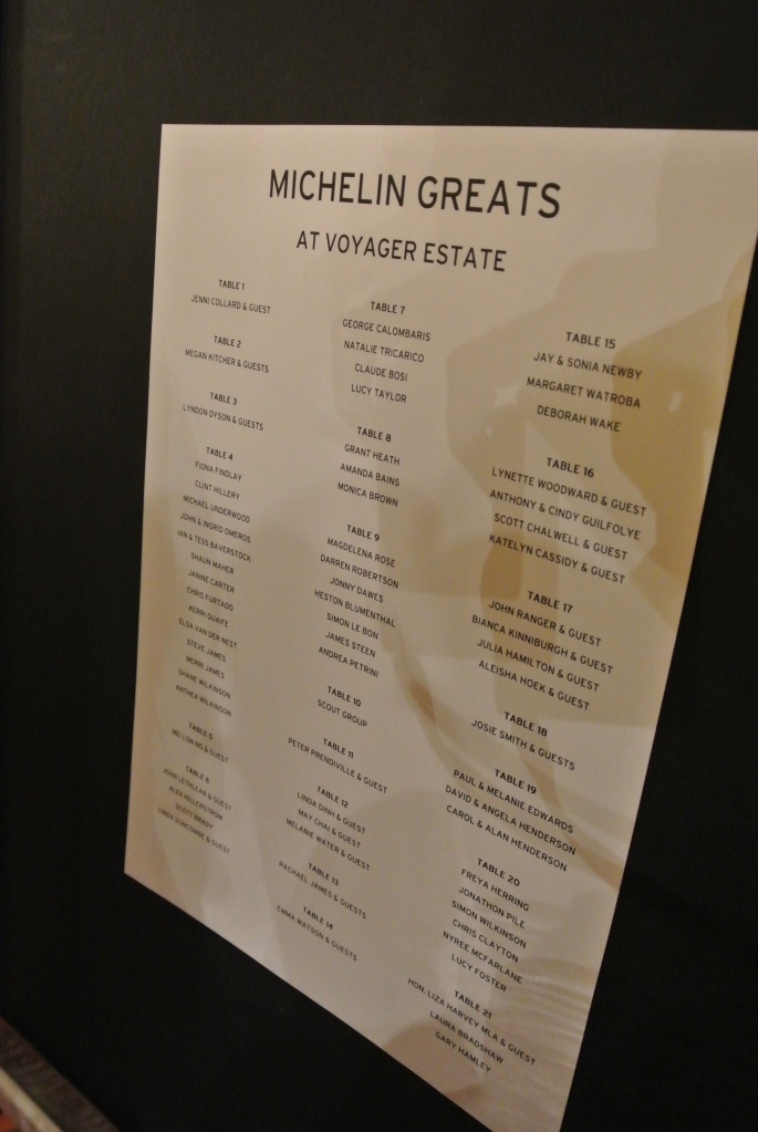 The seating chart for the Michelin Greats Dinner