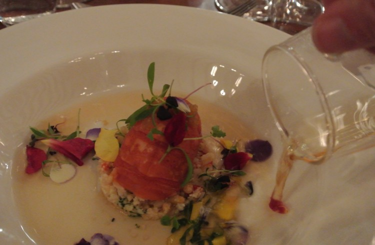 "Clare Smyth's ""Poached West Australian Marron, cauliflower cous cous, finger lime, ras el hanout broth"""