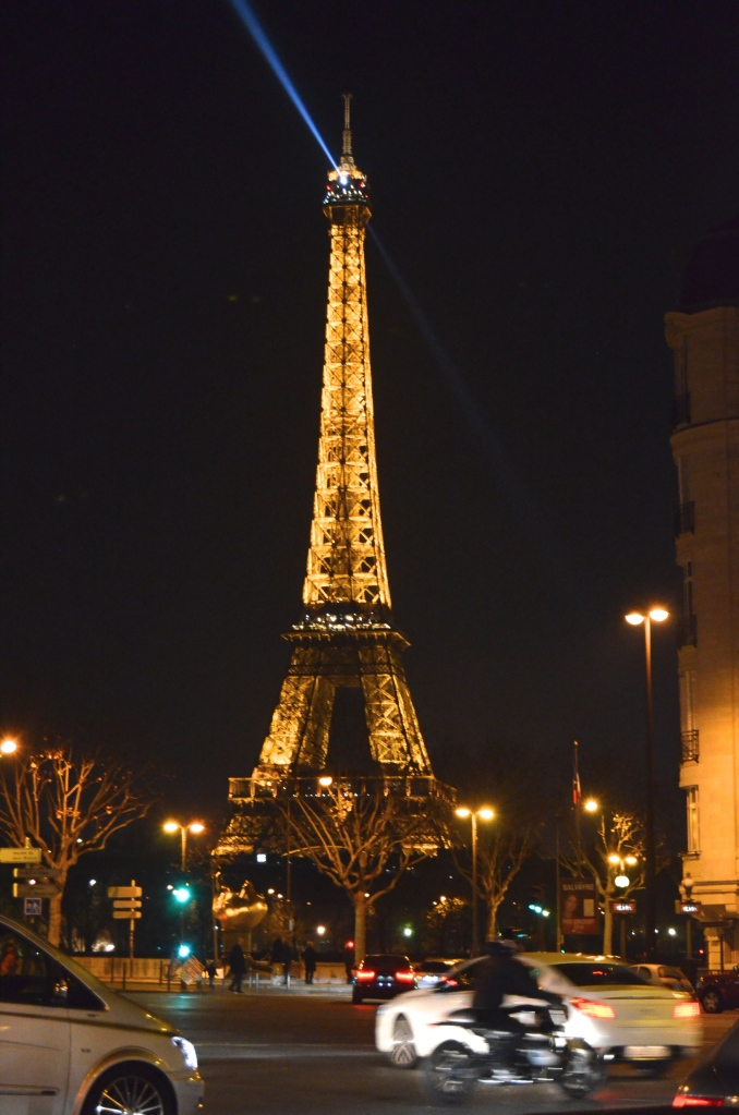 The Eiffel Tower at night from the Hôtel Plaza Athénée