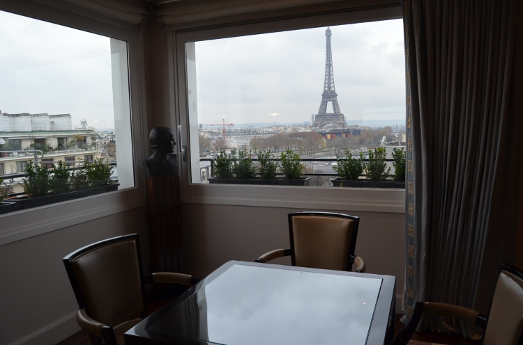 The view of the Eiffel Tower from suite 878 at Hôtel Plaza Athénée