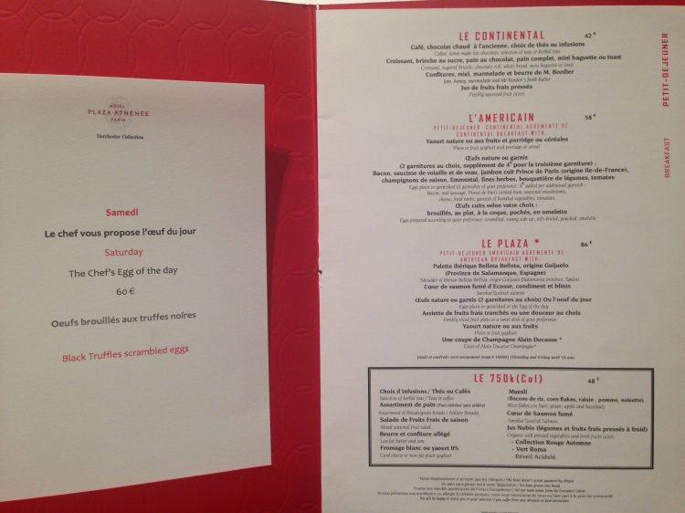 The breakfast menu at Alain Ducasse au Plaza Athénée