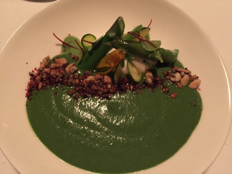 Envy: Stinging nettle soup, greens, goat's cheese, pine nut and nigella praline